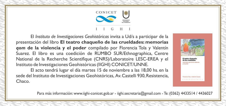 Invitación genérica IIGHI - Presentación de libro Tola-Suarez