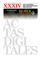 Tapa Actas Digitales del XXXIV Encuentro de Geohistoria Regional (2014)