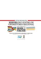 Tapa Actas Digitales del XXXVIII Encuentro de Geohistoria Regional (2018)
